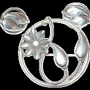 Vintage Sterling Brooch Earring Set by Old Crest Sterling