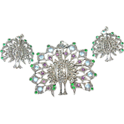 Vintage Brooch Earring Set 830 Coin Silver Peacock Design