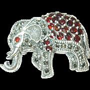 Vintage Sterling Brooch Marcasite Garnets Elephant