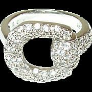 Vintage Sterling Belt Buckle Ring Faux Diamonds