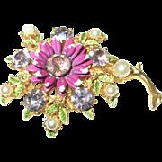Vintage Weiss Flower Brooch Enameled