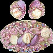 Vintage Brooch Earring Set 1950's