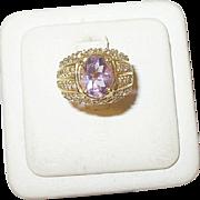 Vintage Ring Sterling Vermeil Amethyst Crystals