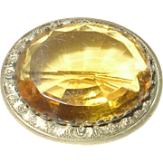Edwardian Lg Brooch Faux Citrine Gold Filled