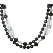 Art Deco Necklace Camphor Glass Black Beads