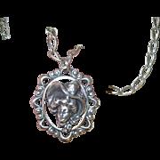 Vintage Sterling Necklace Pendant Gibson Girl