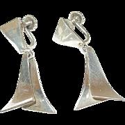Sterling Mid Century Modernist Earrings by Nobel Smith
