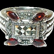 Vintage Sterling Ring Marcasite Garnets
