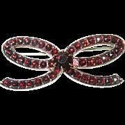 Vintage Sterling  Bohemian Garnet Brooch Bow Design