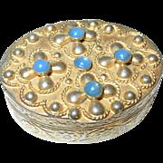 Vintage Vanity Box Gilt Metal Blue Cabochon Stones