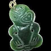 Vintage Oriental Jade Pendant Lg Monkey