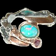 Vintage Sterling Vermeil Claw Ring Ruby Opal