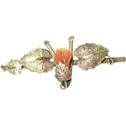 Victorian Gold Filled Coral Brooch