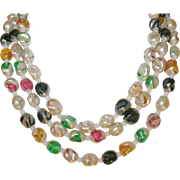 Vintage Czechoslovakian Art Glass Bead Necklace