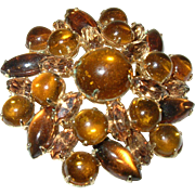 Vintage Weiss Brooch Cabochon Glass Stones