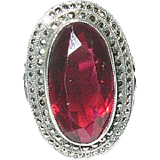 Art Deco Ring Sterling Marcasite Faux Ruby