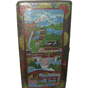Vintage Japanese Cigarette Case Enamel Gold Wash Rare