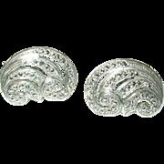 Vintage Sterling Marcasite Earrings Open Work