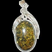 Vintage Lg Sterling Baltic Amber Pendant Modernist Design