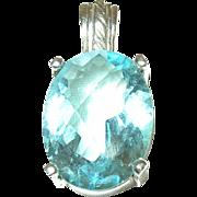 Vintage Sterling Lg Pendant Faux Aquamarine