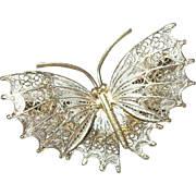 Vintage Brooch 800 Coin Silver Vermeil Butterfly Filigree