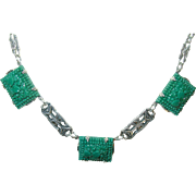 Art Deco Sterling Link Necklace Green Art Glass