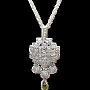 Vintage Sterling Necklace Teardrop Pendant Faux Diamonds