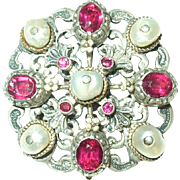 Antique 835 Coin Silver Brooch Salt Water Pearls Paste Rubies