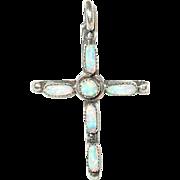 Vintage Pendant Sterling Opal Cross
