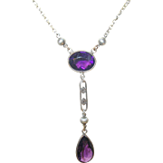 Vintage Necklace Sterling Lavaliere Faux Amethysts