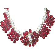 Vintage Necklace Red Crystal Bead Faux Diamonds
