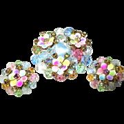 Vintage Laguna Brooch Earring Set Pastel Colors