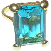 Vintage Ring Sterling Vermeil Faux Stone