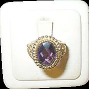 Vintage Sterling Vermeil Ring Faux Amethyst