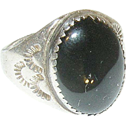 Vintage Sterling Black Onyx Ring