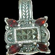 Vintage Pendant Sterling Marcasite Garnet