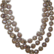Vintage 3 Strand French Art Glass Bead Necklace