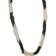 Vintage Necklace Faux Pearls Black Glass Beads