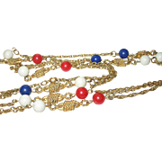 Vintage Necklace Red White Blue Beads