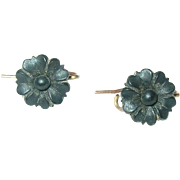 Victorian 14K Black Jet Earrings