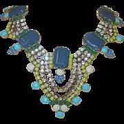 Vintage Czechoslovakian Art Glass Bibb Necklace