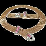 Vintage Necklace Bracelet Set Belt Buckle Design by Lisner