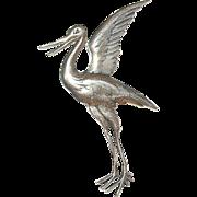 Vintage Brooch Sterling Stork