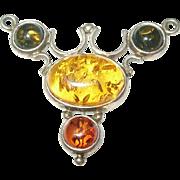 Vintage Sterling Baltic Amber Pendant