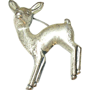 Vintage Sterling Fawn Brooch