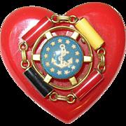Vintage Bakelite Brooch 1990's Sweetheart Brooch