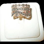 Vintage Ring Sterling Rose Gold Vermeil Marcasite
