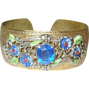 Vintage Czechoslovakian Cuff Bracelet Enamel Work