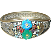 Vintage Czechoslovakian Hinged Bangle Enamel Work