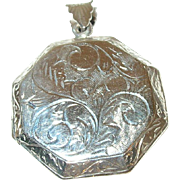 Vintage Sterling Locket Pendant Hand Chased